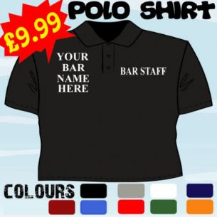 BAR STAFF PUB CLUB EMBROIDERED EMBROIDERY POLO SHIRT